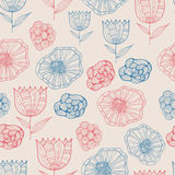 Vector Seamless Doodle Floral Pattern Stock Photo