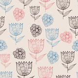 Vector Seamless Doodle Floral Pattern with Tulips Royalty Free Stock Photography