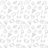 Vector seamless doodle hand drawn pattern with social icons. Stock Images