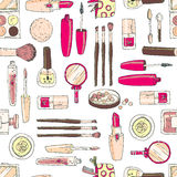 Vector seamless doodle pattern with cosmetic tools. Pastel color Stock Photos