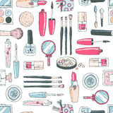 Vector seamless doodle pattern with cosmetic tools. Pastel color Royalty Free Stock Photos