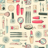 Vector seamless doodle pattern with cosmetic tools.Retro colors, Stock Image