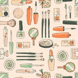 Vector seamless doodle pattern with cosmetic tools.Retro colors, Royalty Free Stock Photos