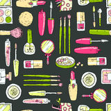 Vector seamless doodle pattern with cosmetic tools. Retro extra Royalty Free Stock Photos