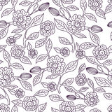 Vector seamless doodle pattern with decorative flowers. Hand dra Royalty Free Stock Photo