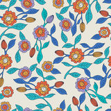 Vector seamless doodle pattern with decorative flowers. Hand dra Stock Images