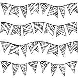 Vector seamless doodles garlands pattern. Royalty Free Stock Images