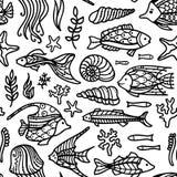Vector seamless doodles underwater ocean pattern. Royalty Free Stock Images