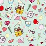 Vector seamless doodles Valentine`s pattern. Cartoon romantic objects on white background. Love signs, design elements and symbols vector illustration