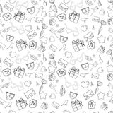 Vector seamless doodles Valentine`s pattern. Cartoon romantic objects on white background. Love signs, design elements and symbols. Black and white stock illustration