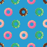Vector seamless doughnut or donut pattern. Design for cards, menu, textile, fabric.. Glazed sweets with chocolate, vanilla, strawberry and mint cream Royalty Free Stock Photo