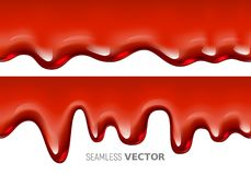 Vector seamless dripping red liquid is similar to blood or syrup on white background Royalty Free Stock Photo