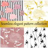 Vector seamless elegant collection. Golden and floral hand drawn textures,prints,backgrounds. vector illustration