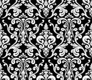 Vector. Seamless elegant damask pattern. Black and white Stock Photo
