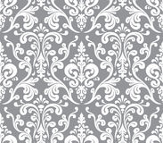 Vector. Seamless elegant damask pattern. Grey and white Stock Images