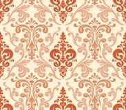 Vector. Seamless elegant damask pattern. Warm colors Stock Image