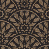 Vector seamless embroidery ethnic pattern with fish scale layout. Brown black drop-shaped elements with line texture Stock Photography