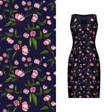 Vector seamless embroidery, floral pattern of leaves and rose on classic black women`s dress mockup. Vector illustration. Hand-dr Royalty Free Stock Photos