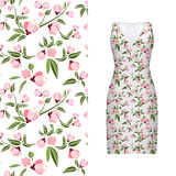 Vector seamless embroidery, floral pattern of leaves and rose on classic women`s dress mockup. Vector illustration. Hand Royalty Free Stock Image