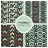 Vector Seamless Ethnic Geometric Pattern Collection Stock Image
