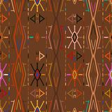 Vector seamless ethnic pattern. With american indian motifs. Aztec background. Textile print with navajo tribal ornament. Native american art Stock Photo