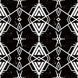Vector seamless ethnic pattern. With american indian motifs in black and white colors. Aztec background. Textile print with navajo tribal ornament. Native Stock Photo