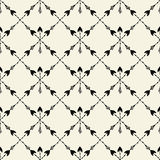 Vector seamless ethnic pattern with arrow. Seamless pattern in native american style. Tribal arrows on white background. Royalty Free Stock Photography