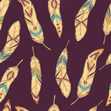 Vector seamless ethnic pattern with decorative feathers. Vector colorful seamless ethnic pattern with decorative feathers Stock Images
