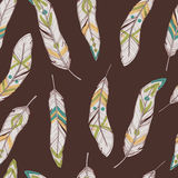 Vector seamless ethnic pattern with feathers. Boho style Royalty Free Stock Photo
