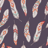 Vector seamless ethnic pattern with feathers. Vector colorful seamless ethnic pattern with feathers. Boho style Royalty Free Stock Image