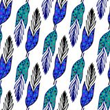 Vector seamless ethnic pattern with hand drawn feathers. Endless background. Ethnic seamless pattern. Vector backdrop. Summer temp Stock Photos