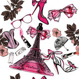 Vector seamless fashion background with perfume Eifel tower shoe Stock Images
