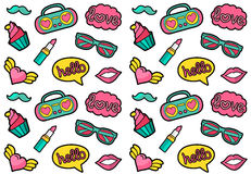 Vector seamless fashion patches pattern. Cute and funny stickers design. Vintage hippie style badges background.  Royalty Free Stock Photo