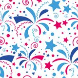 Seamless festive colored firework pattern and stars. Vector seamless festive colored firework pattern and stars Royalty Free Stock Photos