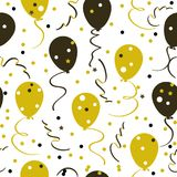 Seamless festive pattern, balloons, stars and confetti, golden color. Vector seamless festive pattern, balloons, stars and confetti, golden color Royalty Free Stock Photos
