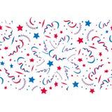 Seamless festive pattern of confetti and stars, blue and red. Vector seamless festive pattern of confetti and stars, blue and red Stock Images