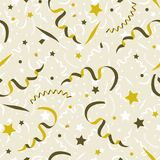Seamless festive pattern, stars and confetti. Vector seamless festive pattern, stars and confetti, golden color Royalty Free Stock Image