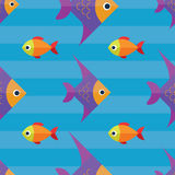 Vector seamless fish pattern. Ocean or aquarium background. Pattern seamless vector illustration. Concept background picture Royalty Free Stock Image