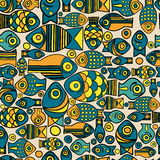 Vector seamless fish pattern Stock Photo