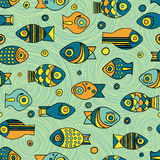Vector seamless fish pattern Stock Image