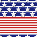 Vector seamless flag pattern with 3d stylized stars on blue and red stripes. Concept for 4th of July, USA Independence Day backgrounds, banners. Design for Royalty Free Stock Photos