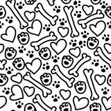 Vector seamless flat hand drawn dog pattern Stock Photo