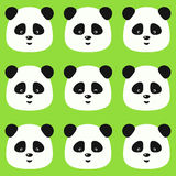 Vector seamless flat panda pattern on green background Royalty Free Stock Image