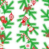 Vector seamless flat pattern with fir tree, santa claus, christmas socks, deer, candy, toys in the white background. Happy New Yea