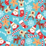 Vector seamless flat pattern with icons of Happy New Year and Christmas Day.  stock illustration