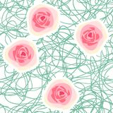 Vector seamless floral background with abstract roses Royalty Free Stock Images