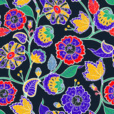 Vector seamless floral background. Colorful isolated flowers  Royalty Free Stock Photography