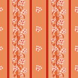 Vector seamless floral background. Vector seamless red background with cherry blossom Stock Images