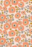 Vector seamless floral ditsy pattern. Fabric design with simple flowers. Royalty Free Stock Image