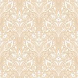 Vector seamless floral lace pattern. Stylized white flowers on beige background Royalty Free Stock Images